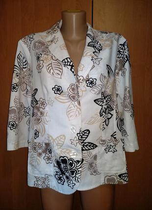 Шикарный льняной пиджак лён и хлопок пог-58 см
