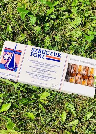 Ампули dikson structur fort для відновлення тонкого, посіченого та ослабленого волосся2 фото