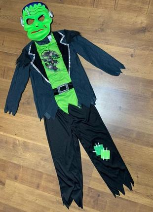 Франкенштейн страшилище костюм 8-9 лет зомби с маской