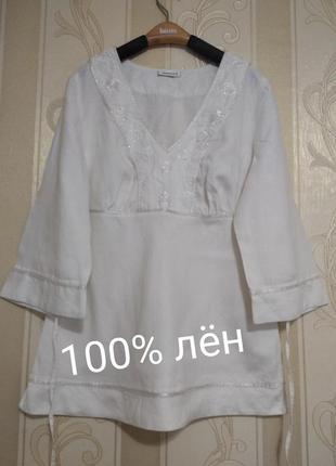 Льняная блузка , блуза с вышивкой, yessice