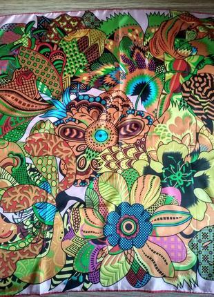 Безумно красивый шелковый платок шарф натуральный саржевый шелк 86*86