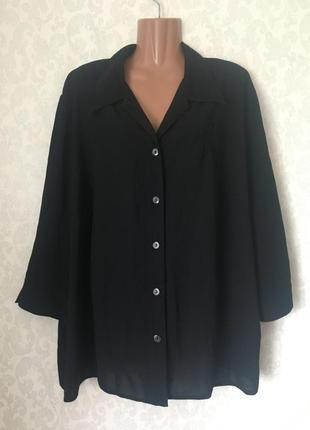 Базовая женская чёрная блуза/блузка большого размера