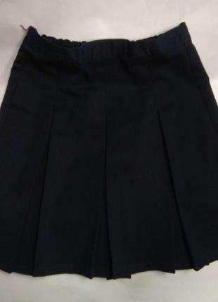 Юбка синяя в складку с карманом marks & spencer 10 лет / 140 см