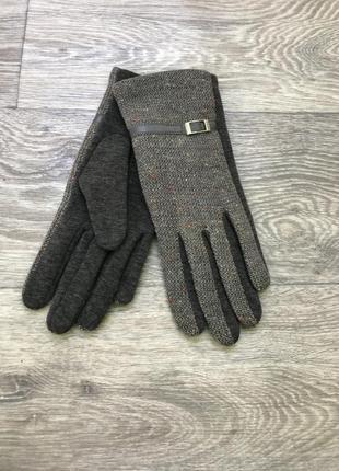 Серые перчатки  на утеплении