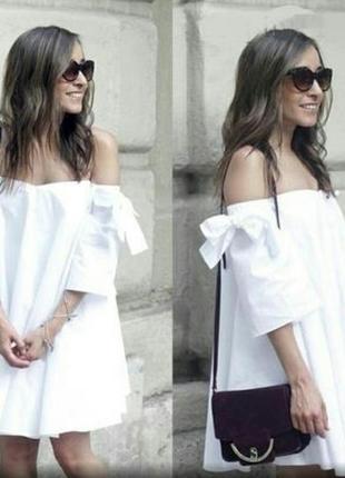 Натуральное платье с бантами на рукавах