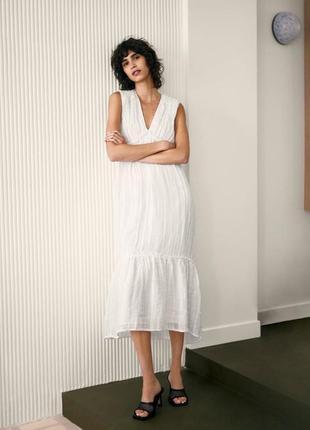 Легкое воздушное льняное платье сарафан zara оригинал