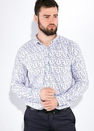 Белая рубашка мужская хлопковая с принтом 511f015