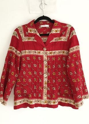 Винтажная яркая хлопковая блуза-рубашка в стиле бохо этно