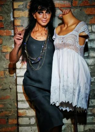 Льняное платье футляр миди сарафан на бретелях sisley лен