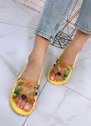 Желтые шлеранцы шлепки сланцы на платформе
