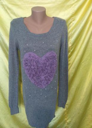 Платье туника из ангоры шифоновое сердце new look