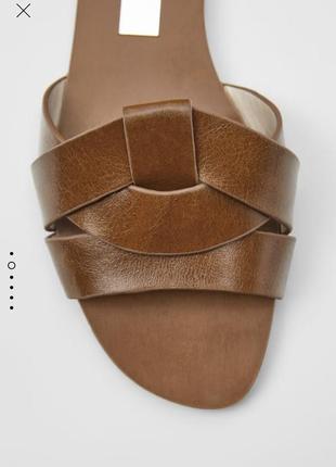 Кожаные шлепки тапки сандали кожа натуральная zara оригинал новые