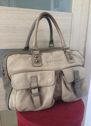 Liebeskind berlin добротная большая сумка из натуральной кожи