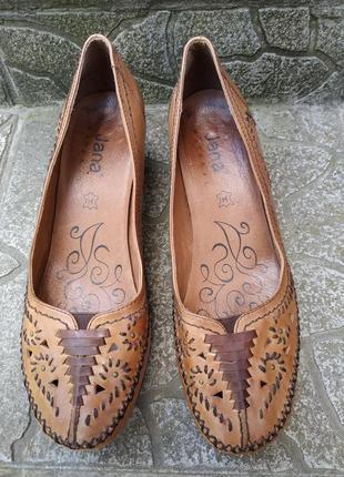 38,5  p. jana кожаные удобные туфли