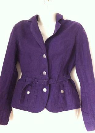 Льняной фиолетовый пиджак street one