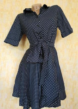 Платье-рубашка в горох, с пояском