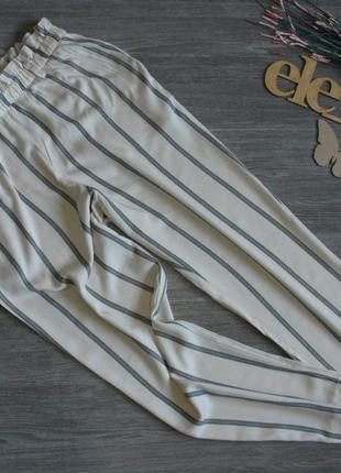 Трендовые летние брюки в полоску h&m пояс резинка eur 38-40