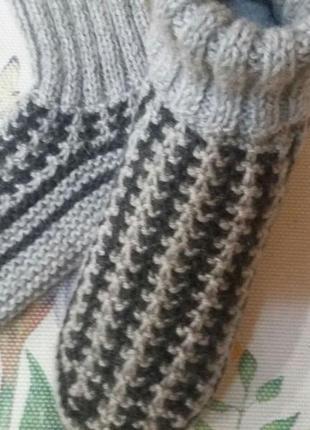 Шерстяные вязанные тапочки-носочки