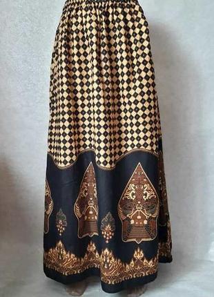 Новая хлопковая яркая нарядная юбка в пол в орнамент в восточном стиле, размер с-м