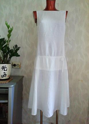 Роскошное белоснежное платье, 100% лен, с красивым вырезом на спинке