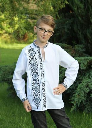 Ексклюзивна вишиванка для маленького модника(сіро-чорна вишивка)на сорочковій тканині