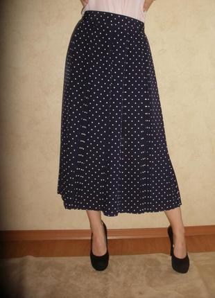 Элегантная чудесная юбка-плиссе юбка со складками st michael m&s в горох
