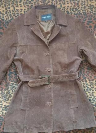 Vero moda кожаная куртка плащ пальто коричневый