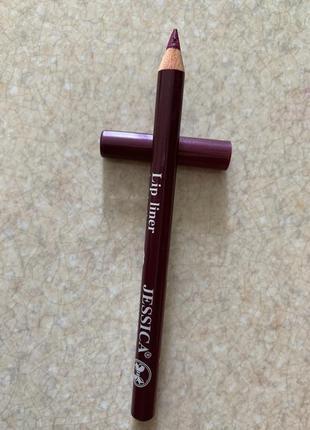 Фіолетово-бордовий олівець для губ. lip liner longlasting jessica cosmetics.