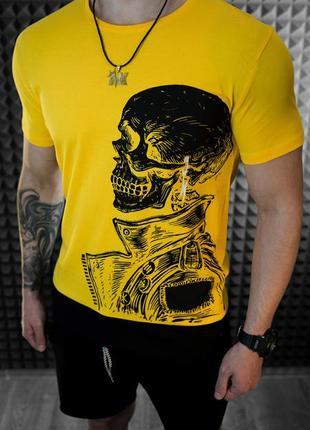 Футболка мужская с принтом череп - цвет желтый