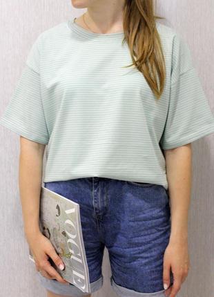 Женская хлопковая футболка в полоску/ жіноча літня бавовняна футболка
