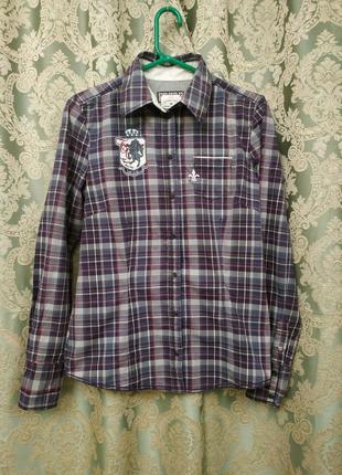 Фирменная стрейчевая рубашка в клетку tom tailor хлопок