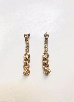 Сережки серьги длинные золотые массивные висюльки с камнями asos крупние цепи