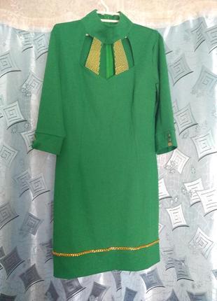 Женское зелёное платье