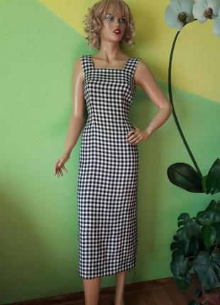 100%лен!!!стильное платье в клетку!