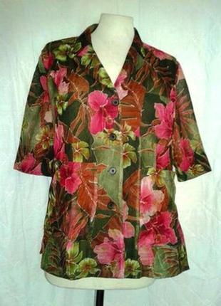 Актуальная нейлоновая блузка, пиджак с карманами, хаки в розовые цветы, s-m