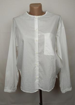 Блуза рубашка белая оригинальная красивая хлопок cos uk 10/38/s
