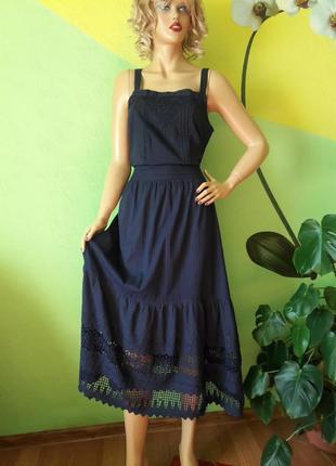 Летнее платье с натуральной ткани с объемным кружевом