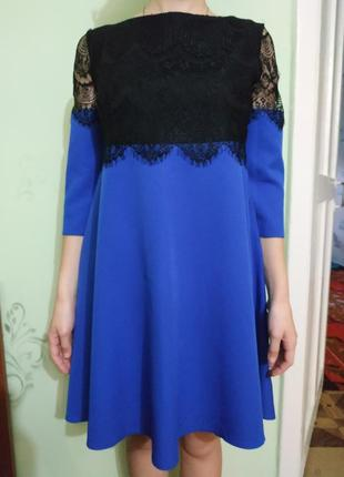 Вечернее платье синее с черным