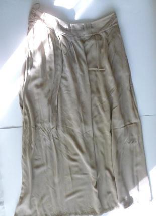 Дорогая удобная длинная бежевая мягкая юбка 100% вискоза reva&ro хороший размер