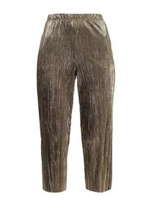 Стильные золотые плиссированные женские укороченные брюки, штаны, topshop