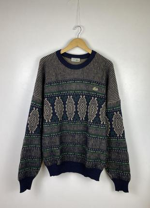 Винтажный шерстяной свитер lacoste vintage. лакост.