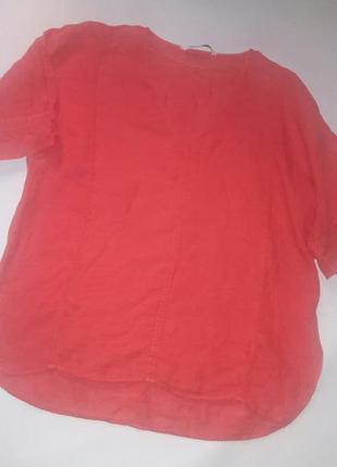 Блуза льняная zara нежно-кораллового цвета
