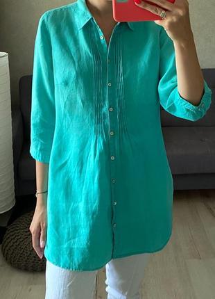 Мятная льняная рубашка удлиненная marco pecci