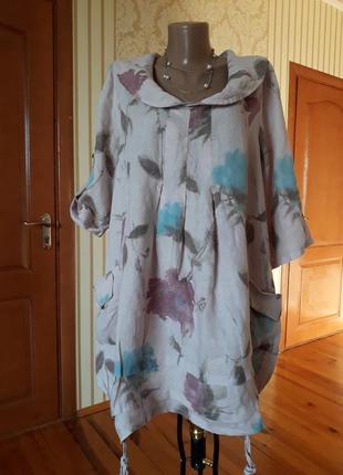 Италия 100% льон обалденно красивая блузка бохо