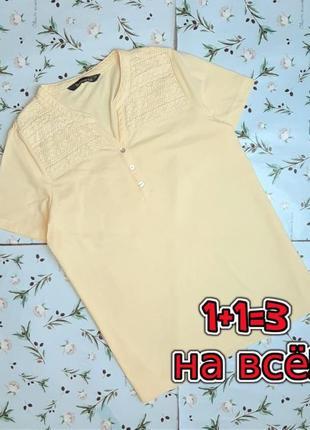 🌿1+1=3 фирменная нежно-желтая женская футболка с прошвой bonmarche, размер 48 - 50