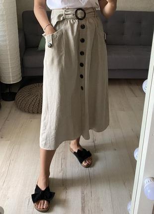 Базовая льняная юбка миди на пуговицах с ремешком topshop