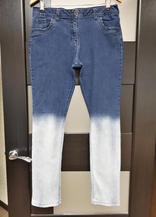 Контрастные стрейчевые джинсы скинни skinny с выбеленным низом skinny