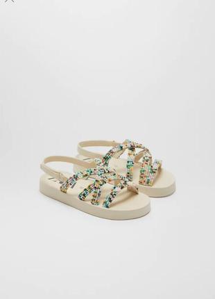 Zara kid's новые лёгкие босоножки сандали с бисером размер 37-38