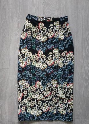 Шикарна юбочка  в цветы миди