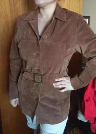 Куртка кожаная натуральная плащ жакет пояс